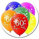 Juego de 10 globos de látex para cumpleaños, número 60, 30 cm de diámetro, multicolor