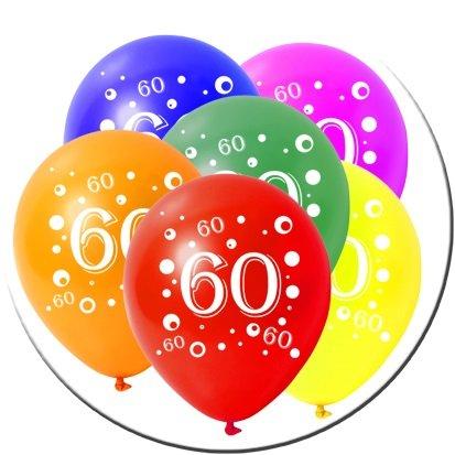 10 Latexballons Geburtstag Zahl 60 Bunt Gemischt 30cm Durchmesser:  Amazon.de: Spielzeug