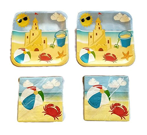 Sea Shore Day At The Beach Summertime Party Plates (28) And Napkins (40) Bundle