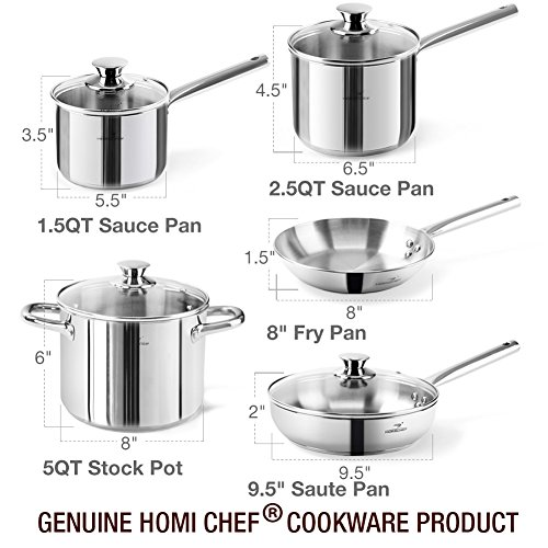 HOMI CHEF 14-Piece Mirror Polished Nickel Free Stainless Steel Cookware Set (No Toxic Non Stick Coating, Frying Pans + Saute Pan +2 Sauce Pans + Stock Pot +5 Utensils)- Induction Ready Cookware 70112