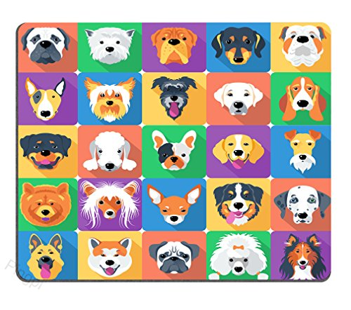 Dog Lover Mouse Pad, Dog Breeds Profiles Pets Shepherd Terrier Labrador Domestic Animals Illustration Non-slip mouse pad Gaming mouse pad