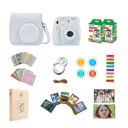 Fujifilm Instax Mini 9 Instant Camera – White + Accessories Bundle Includes; Carrying Case, Acrylic Magnetic Picture Frames, Album, Selfie Lens, Frames and Stickers + More