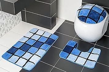 3 teilig badset badgarnitur badematten badteppich stand wc blau n81