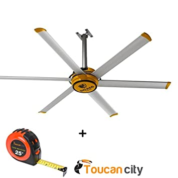 Giant shop ceiling fan 7 ft yellow and silver aluminum 2025 giant shop ceiling fan 7 ft yellow and silver aluminum 2025 toucan city tape aloadofball Image collections