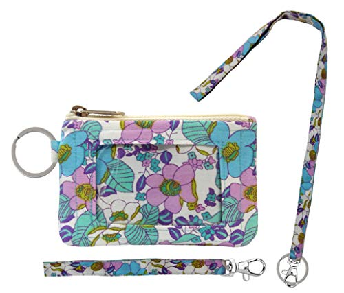 (Zip ID Case, Lanyard & Wrist-let/Key Wallet/Credit Card Case Coins Purse with ID Window, Lanyard & Wrist-let/Cute ID Holder/Badge Clips (Flower Valley))