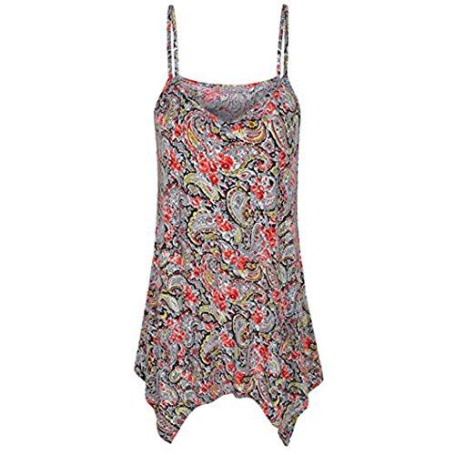 Chinese Embroidery Handkerchiefs (iYYVV Womens Handkerchief Hem Flowy Top Casual Summer Spaghetti Strap Camisoles Tank)