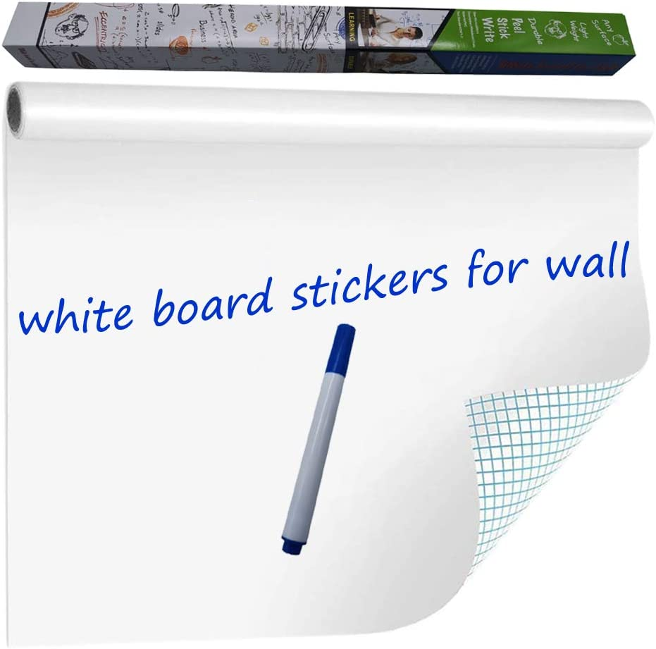 WISHAVE Large Dry Erase Whiteboard Sticker Wall Decal,Self-Adhesive White Board Sticker Vinyl Peel and Stick Paper for School, Office, Home, Kids Drawing with 1 Marker 78.7 X 17.5 inch