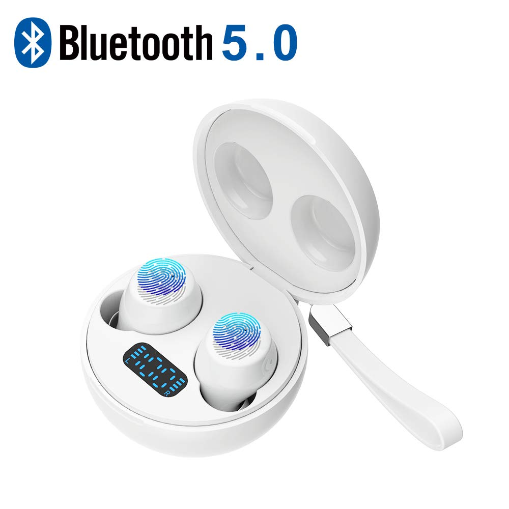 Wireless Earbuds,Bluetooth 5.0 Earbuds with Charging Case LED Battery Display 20H Playtime in-Ear Bluetooth Headset IPX4 Waterproof True Wireless Earbuds for Work Sports Running White