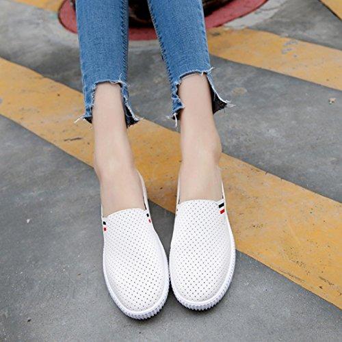 Upxiang Damen Beiläufige Flache Schuhe Breathable Faule Schuhe Beschuht Frauen Aushöhlen Schuhe Runde Zehe Plattform Flache Fersen Beleg Weiß