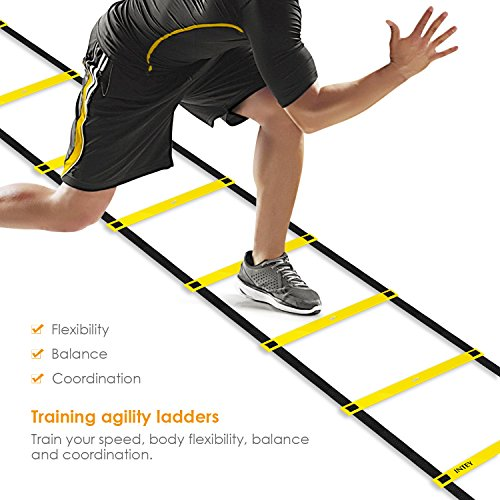 INTEY Agility Ladder Exercise Speed Ladder Durable Football Ladder with 5 Suction Cups and Carry Bag