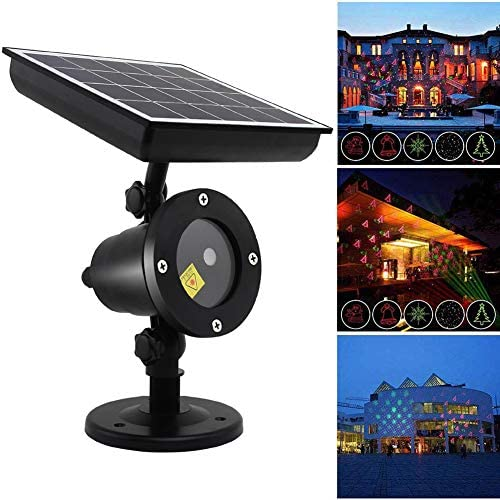 BKSD LED Solar Energy Lights, Christmas Projector Light, Rotating Spotlight, Christmas Outdoor Landscape Decorative Lighting