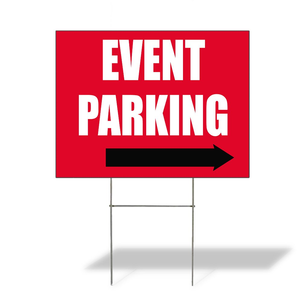 Event Parking #1 Outdoor Lawn Decoration Corrugated Plastic Yard Sign - 12inx18in, Free Stakes