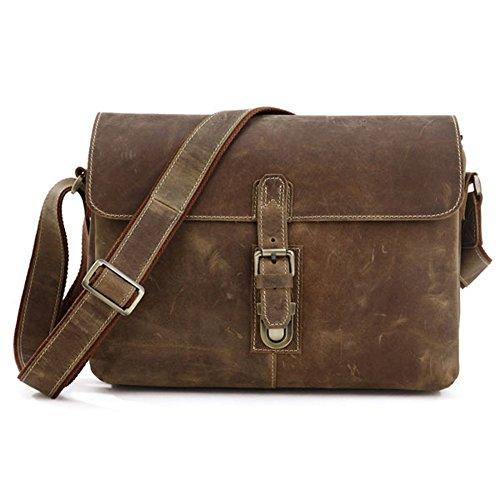 Mige Intl Men's Leather Messenger Bag Brown
