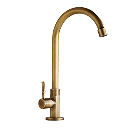 Bathroom Wash Basin Brass Vintage Faucets Vintage Brass Rotating Hot and Cold Kitchen Sink Faucets Crush European Antique Copper Hot and Cold Single-Hole Basin Faucet