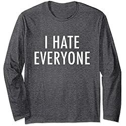 Unisex I Hate Everyone Long Sleeve Shirt - Anti-social Shirt 2XL Dark Heather
