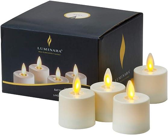 Luminara Pack 4 Velas tealigh Vela Led Llama en Movimiento, Parafina, Marfil, Muy pequeño: Amazon.es: Hogar