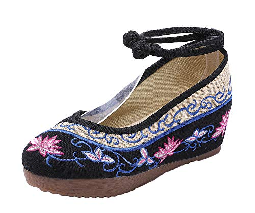 (AvaCostume Old Beijing Womens Embroidery Summer Sandals Comfortable Casual Walking Shoes, Black, 41)