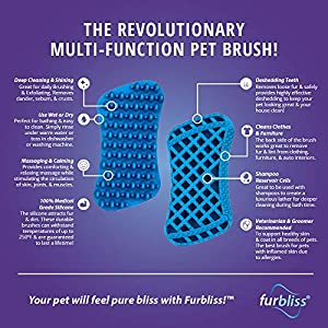 Furbliss Dog Brush for Grooming, Brushing and Bathing Dog & Cats with Short Hair, Great for the Bath Deshedding and Massaging Your Pet – by Vetnique Labs (Small Pet Short Hair)