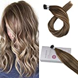Bleaching Hair Brown To Blonde - Moresoo 20 Inch 100% Remy Hair Extensions Color #4 Brown Fading to #27 Blonde Mixed with #4 I tip Fusion Hair Extensions Keratin for Hair Brazilian 1g/1s 50g