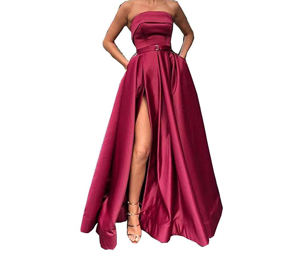 Burgundy Darcy74Dulles Women's Satin Long Evening Dress Sexy High Slit Floor Length Red Formal Evening Gowns Dresses with Pockets