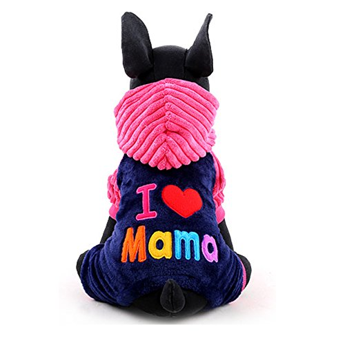 iEFiEL I Love Papa Mama Pets Pups Cats Sweet Hooded Coat Winter Suit Rose M