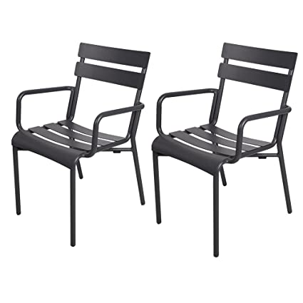 Peachy Dporticus Indoor Outdoor Aluminum Chairs With Slat Back And Seat Restaurant Stackable Chair Commercial And Residential Use Black Set Of 2 Home Interior And Landscaping Eliaenasavecom