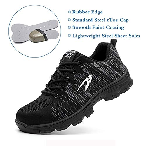 En Femmes Fly Black Travail De Hommes Protection Chaussures Randonnée Sécurité Respirant Weave Avec Acier Kangle Embout Tw1FqPxgx