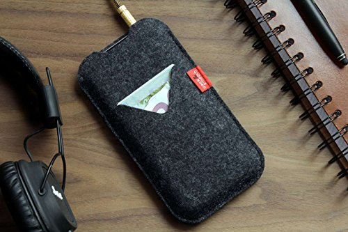 "Pack & Smooch Shetland iPhone X (5.8"") Cover Case made with 100% Merino Wool Felt and Natural Vegetable Tanned Leather - Dark Grey by Pack & Smooch (Image #3)"
