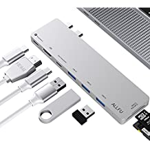 """USB C Hub,Thunderbolt 3 Hub ALLFU 8-in-1 Type C Pro Hub Adapter for 2016/2017 MacBook Pro 13""""and 15""""Aluminum Type C 3.1 Charging Port with 4K HDMI Port, 3 USB 3.0 Ports, SD & Micro SD Card Reader"""