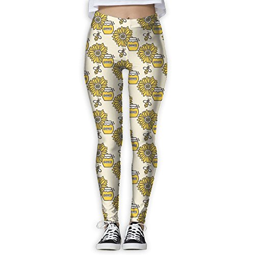 - HCZHUCK Womens Flower And Bee Honey Full-Length Workout Stretchy Yoga Pants High Rise Yoga Leggings