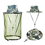Ezyoutdoor Unisex Camouflage Outdoor Anti-mosquito Polyester Boonie Hat with 360 Degree Head Face Neck Protection Net Mesh for Hiking Hunting Boating Fishing Camping