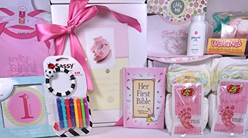 Baby Girl Gift Box Basket - 18 Items for the New Bundle of Joy - Send Congratulations to the Newborn's Parents!