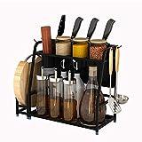 Condiment Storage Rack, 2-Layer Kitchen Counter Storage Rack for Seasoning Jars, with Chopping Block Holder, Cutlery Holder, Knife Holder (30 14.5 40Cm)