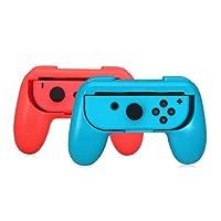BULLSPRING Hand Grips para Nintendo Switch Joy-Con, resistente al desgaste Comfort Game Controller Handle Kit Protector de la cubierta de agarre para Nintendo Switch Joy-Con (2-Pack), azul + rojo