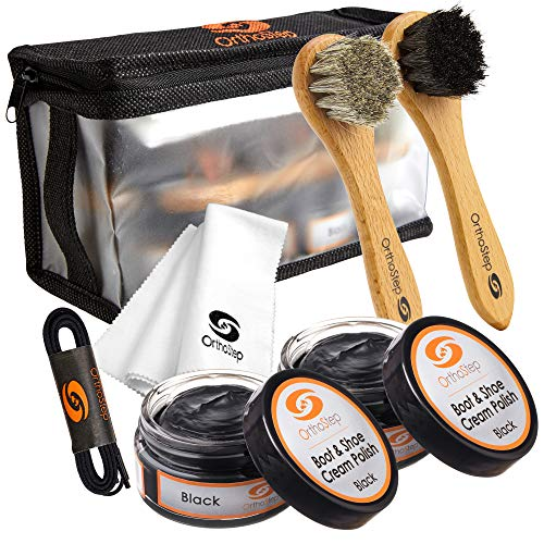 7pc Black Leather Shoe and Boot Polish Kit - Brushes, Cloth, Case, Laces from OrthoStep