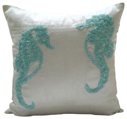 White Decorative Pillows Cover, Beaded Sea Horse Beach and O