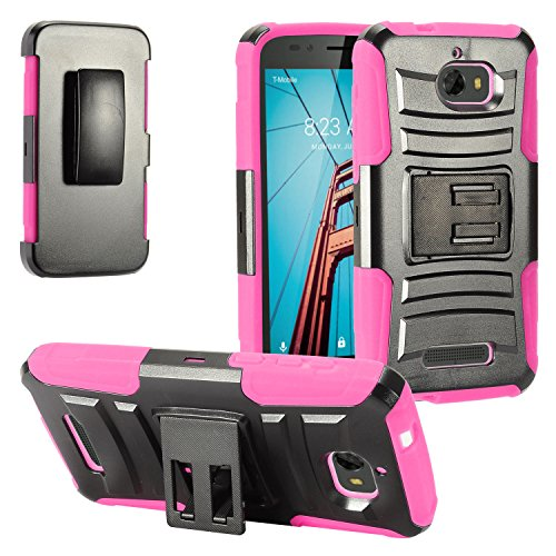 Eaglecell - For Coolpad Defiant 3632A - Hybrid Armor Protective Case with Stand / Belt Clip Holster - Hot Pink/Black ()