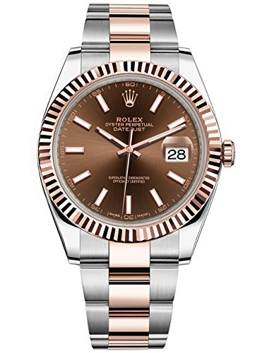 Rolex Datejust 41 Stainless Steel & Everose Gold Oyster Watch Chocolate Dial 2016