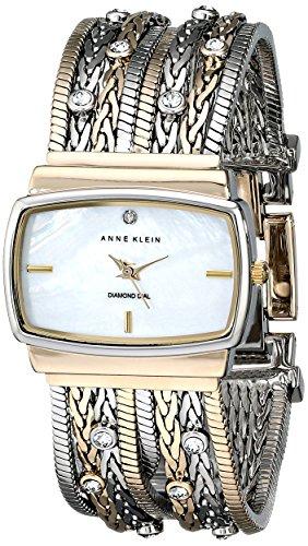 Anne Klein Women's 109271MPTT Swarovski Crystal Accented Two-Tone Multi-Chain Bracelet Watch