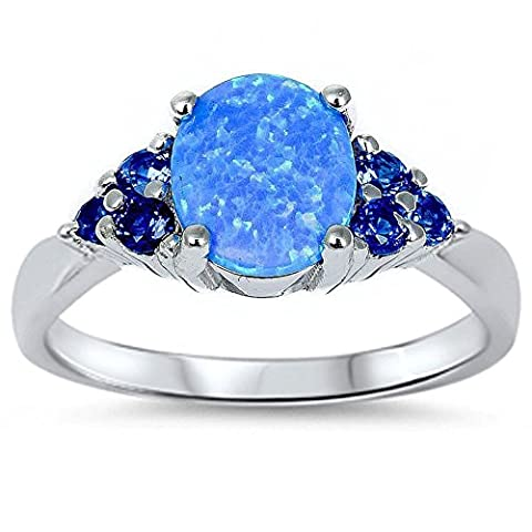 Solitaire Fashion Ring Oval Created Blue Opal Simulated Round Blue Sapphire Accent 925 Sterling - Oval Created Sapphire Solitaire Ring