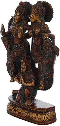 Kapasi Handicrafts Brass Antique Vishnu Laxmi/Laxmi Narayan Idol Statues (5'' x 2'' x 8.5''),inch Brown