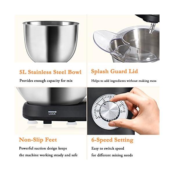 Stand Mixer,Posame Dough Mixer Cake/Bread Kneading Machine,Professional Kitchen Electric Mixer Tilt-Head with 5 Quarts… 5