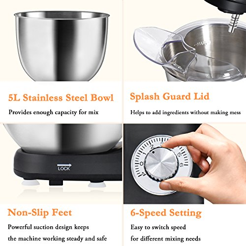 POSAME Stand Mixer 500W 6-Speed Professional Kithchen Mixer Tilt-Head Electric Food Machine with 5-Qt. Bowl,Dough Hook, Whisk, Beaters (Black) by POSAME (Image #4)