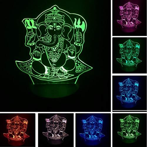 KLSOO Christmas 3D Led Night Light Visual 7 Colors Illusion India Lord Elephant Kid Child Table Desk Lamp Birthday New Year Gifts -