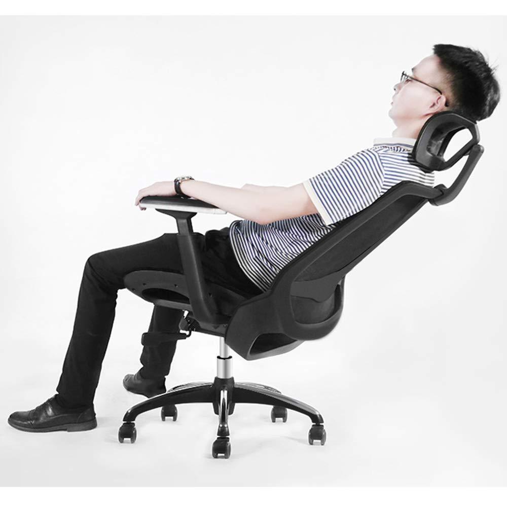 Xiuyun datorstol andningsbar sits multifunktionell nackstödskudde multifunktionell svängbar kontorsstol människokropp kurva rengöringsnät högtrycksläder (färg: svart) Svart