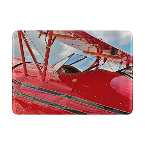 Waco Ymf 5c Airplane Biplane Leather Passport Holder Cover Case Travel One Pocket