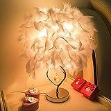 LED Light Celendi Bedroom Table Desk Lamp Feather Shade Light Home Commercial Decoration White