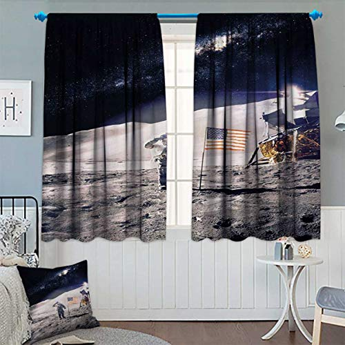Chaneyhouse Space Waterproof Window Curtain Astronaut on Moo