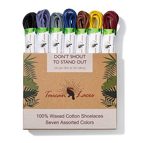 Toucan Laces Dress Shoe Laces for Men in [7 Pairs] of Round Waxed Shoelaces – 100% Cotton – Black Shoe Laces