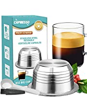 CAPMESSO Reusable Coffee Capsules, Stainless Steel Refillable Vertuo Pods Compatible with Nespresso Vertuoline GCA1 and Delonghi ENV135S (8OZ- The Newest Version)